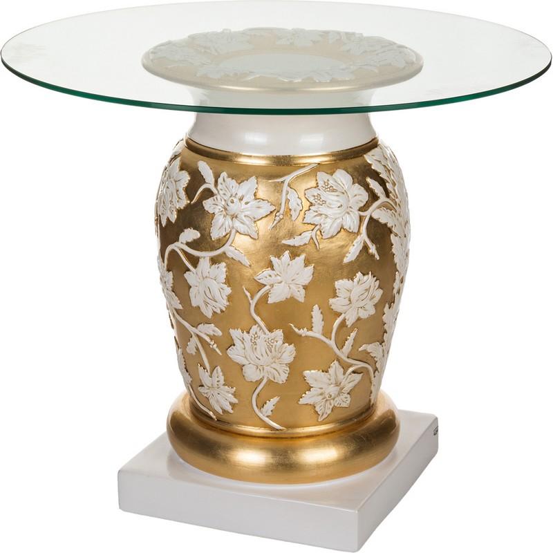 Стол журнальный стекло Золото