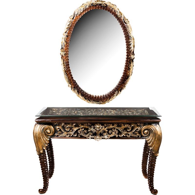 Консоль со стеклом и зеркалом