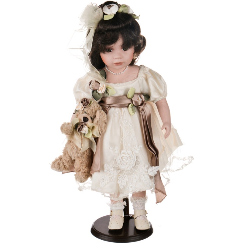Кукла фарфоровая ДЕВОЧКА С МЕДВЕЖОНКОМ