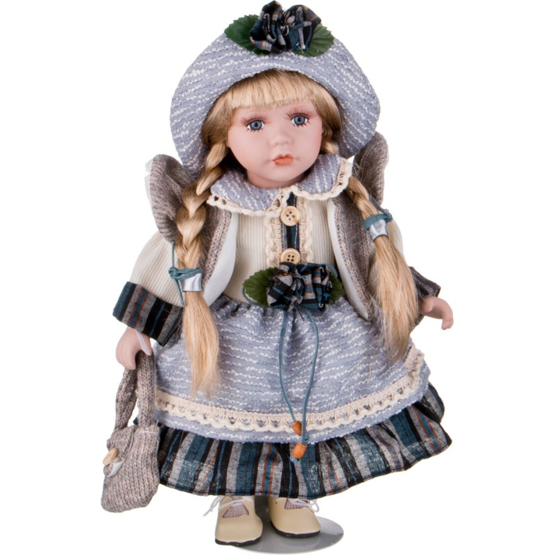 Кукла фарфоровая ДЕВОЧКА С КОСИЧКАМИ
