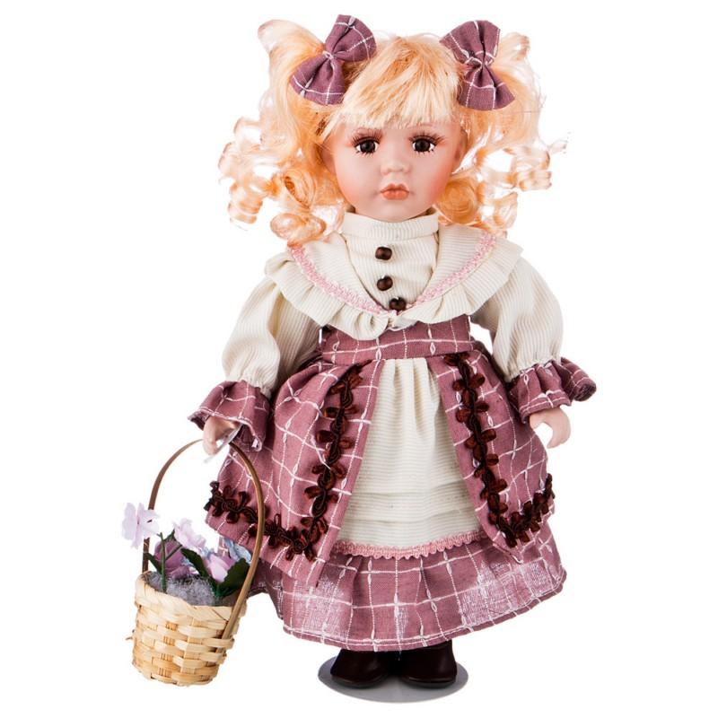 Кукла фарфоровая ДЕВОЧКА С ЦВЕТАМИ